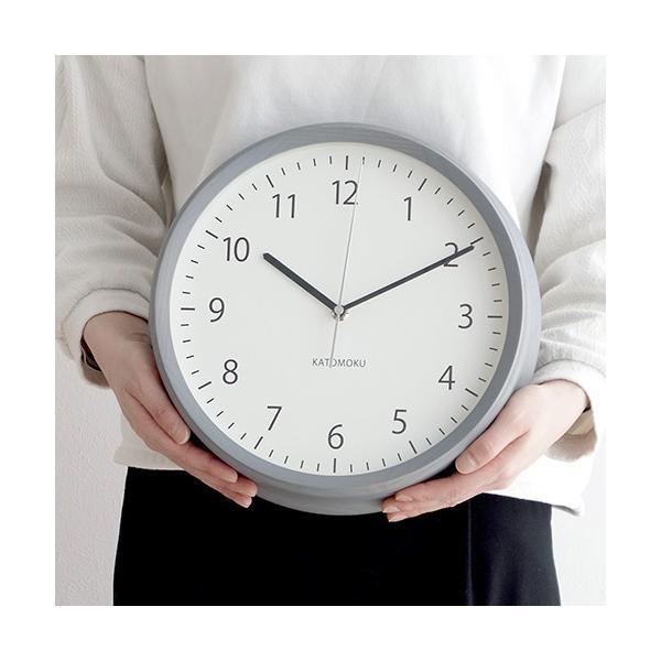 壁掛け時計 電波時計 木製 日本製 加藤木工 KATOMOKU カトモク 連続秒針 muku round wall clock 4 グレー KM-57GRC|favoritestyle|05