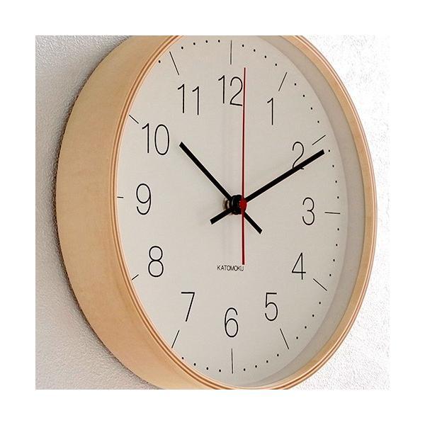 壁掛け時計 電波時計 木製 日本製 加藤木工 KATOMOKU カトモク 連続秒針 plywood wall clock 9 ナチュラル 曲木時計 KM-75NRC|favoritestyle|03