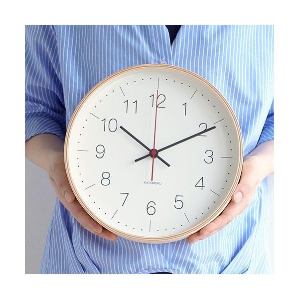 壁掛け時計 電波時計 木製 日本製 加藤木工 KATOMOKU カトモク 連続秒針 plywood wall clock 9 ナチュラル 曲木時計 KM-75NRC|favoritestyle|04