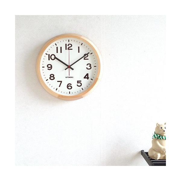 壁掛け時計 電波時計 木製 日本製 加藤木工 KATOMOKU カトモク 連続秒針 muku round wall clock 10 ナチュラル KM-86NRC|favoritestyle|02