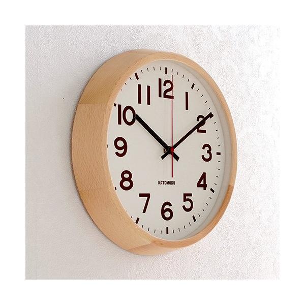 壁掛け時計 電波時計 木製 日本製 加藤木工 KATOMOKU カトモク 連続秒針 muku round wall clock 10 ナチュラル KM-86NRC|favoritestyle|03