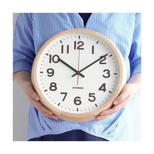 壁掛け時計 電波時計 木製 日本製 加藤木工 KATOMOKU カトモク 連続秒針 muku round wall clock 10 ナチュラル KM-86NRC|favoritestyle|04
