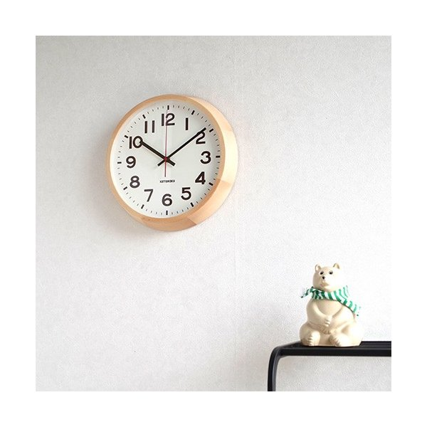 壁掛け時計 電波時計 木製 日本製 加藤木工 KATOMOKU カトモク 連続秒針 muku round wall clock 10 ナチュラル KM-86NRC|favoritestyle|05