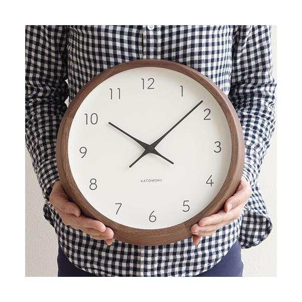 加藤木工 カトモク KATOMOKU muku round wall clock 7 ウォールナット 電波時計 壁掛け スイープムーブメント KM-93RC|favoritestyle|04