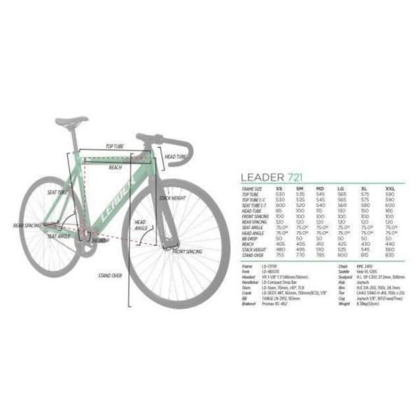 LEADER BIKES リーダーバイクス 721 MAT BLACK ピストバイク 完成車 アルミ フレーム カーボン 軽量 自転車 マットブラック 人気|favus|04