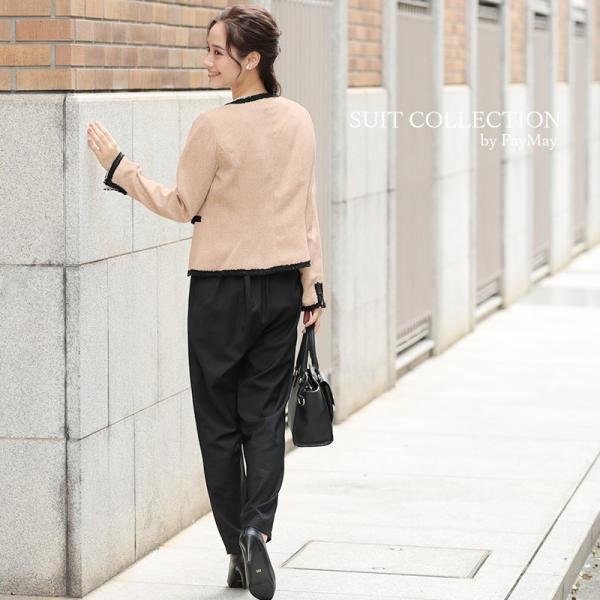 6aab83bf08c44 ... パンツスーツ 3点セット ママスーツ スーツ ノーカラー ジャケット 服装 母 同窓会 レディース 入学 ...