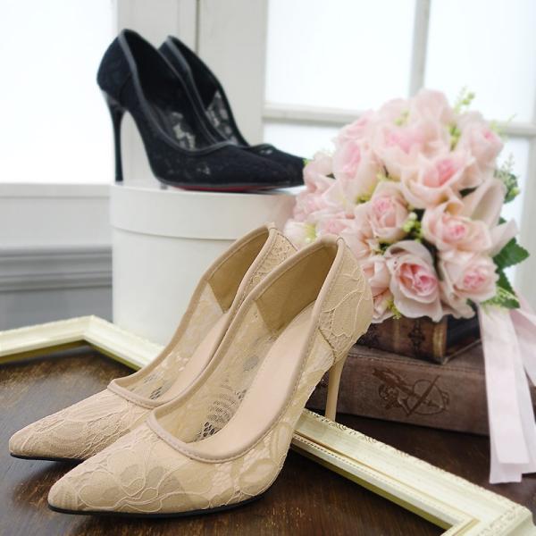 パンプス 靴 パーティーシューズ ハイヒール 結婚式 パーティー レース ポインテッドトゥ 同窓会 春 夏|fay-may