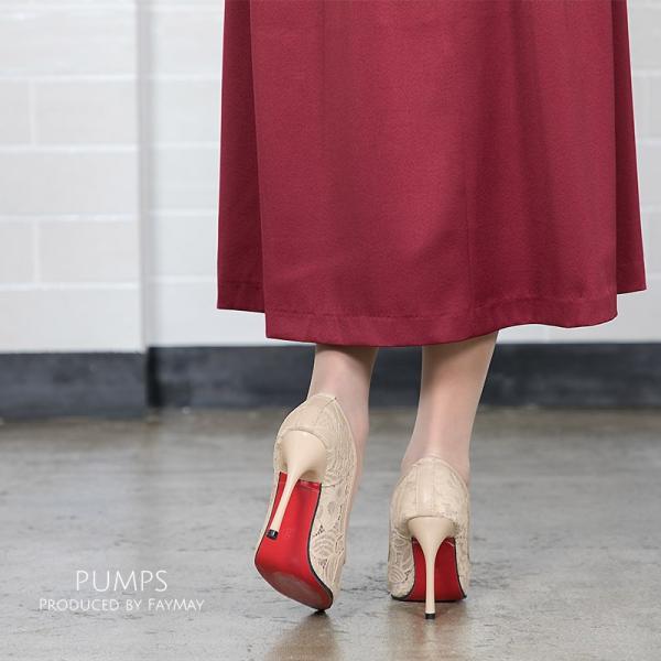パンプス 靴 パーティーシューズ ハイヒール 結婚式 パーティー レース ポインテッドトゥ 同窓会 春 夏|fay-may|08