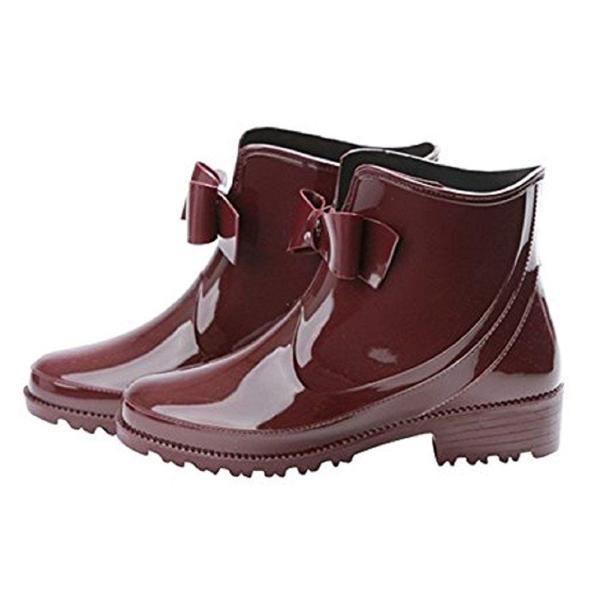 Kaenarie (カエナリエ) レインブーツ ショート レディース フロント リボン ブーツ レインシューズ 長靴 雨靴 ブラック ベージ