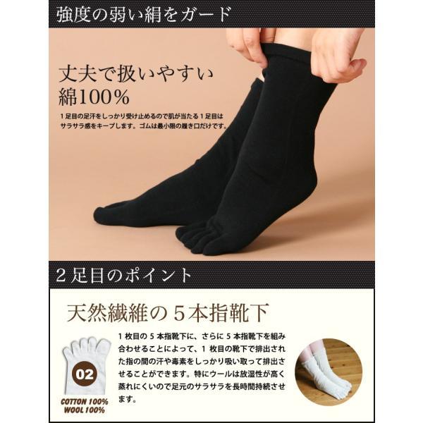 冷えとり靴下 黒3足セット (4298) 冷え取り ひえとり 天然素材 シルク コットン 5本指靴下 靴下 くつした ソックス レディース 女性 メン fdsdaigo 05