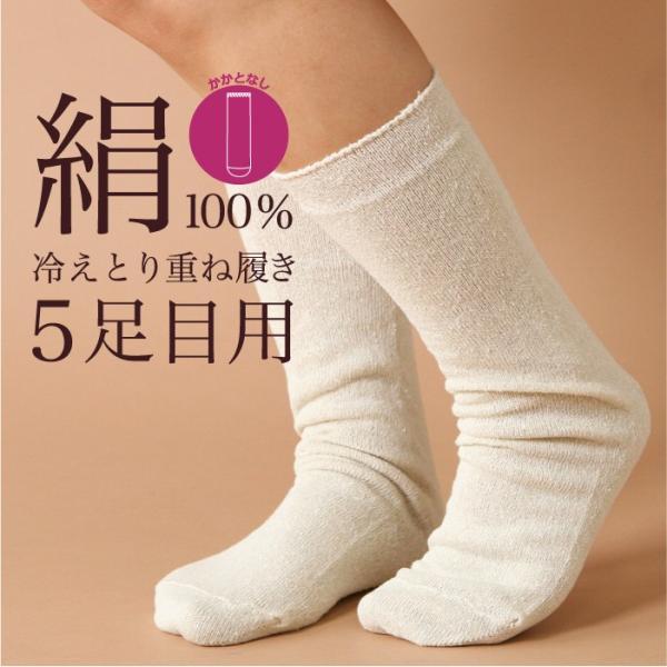 冷えとり靴下 冷え取り シルク 先丸靴下 5足目 (4301) 靴下 くつした ソックス レディース 女性 天然素材 絹 シルク 大きめ  日本製 (|fdsdaigo
