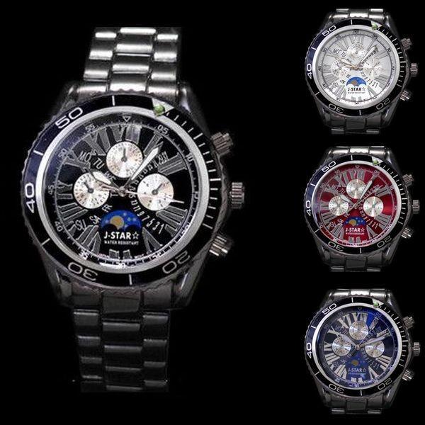 腕時計 メンズ ブラックメタル 重厚感 クロノグラフ ムーンフェイス調 ウォッチ ブラック ブルー レッド ホワイト