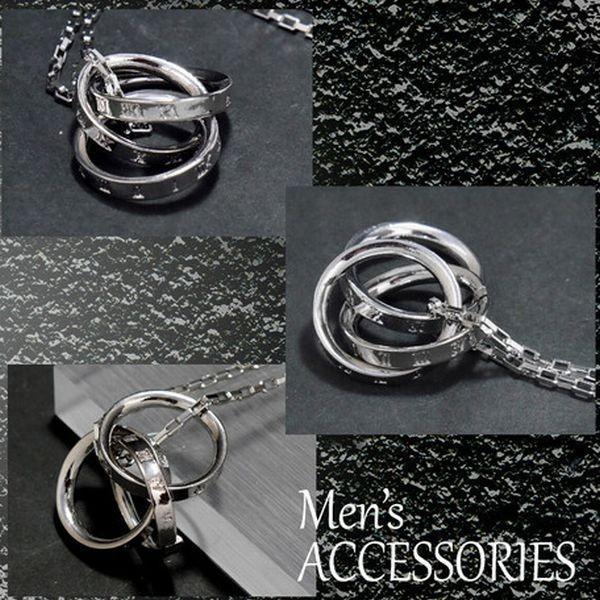 ネックレス メンズ コンビネーション 3リング 真鍮 ロジウム加工|feelboy|02