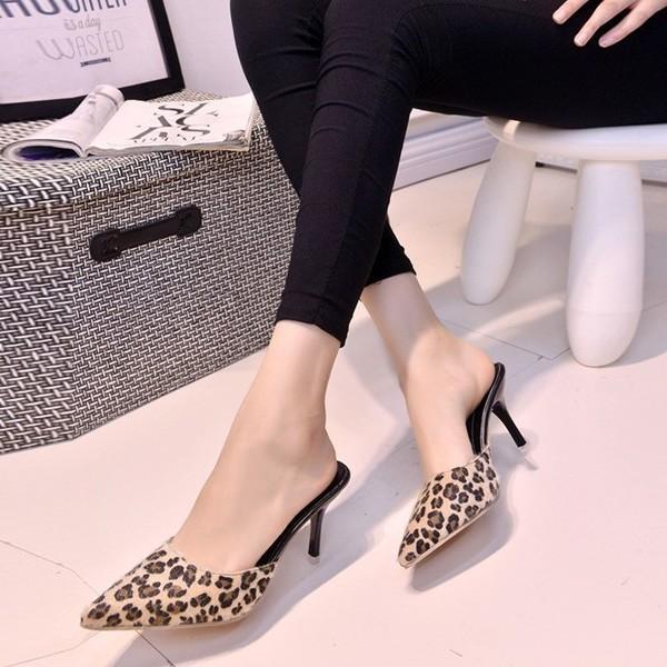 サンダル ミュール ポインテッドトゥ スリッパ おしゃれ ハイヒール 夏 豹柄 歩きやすい 痛くない 履きやすい 美脚 hh8809