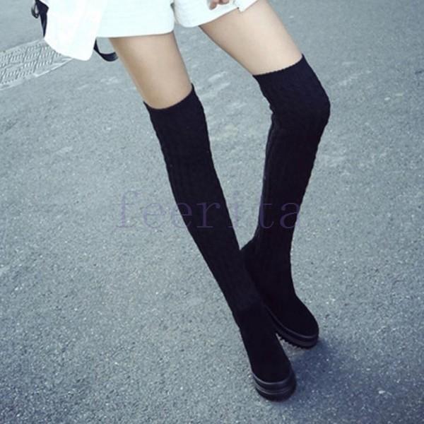 ブーツ ソックスブーツ ニーハイソックス ニーハイブーツ ニーハイ ロング ぺたんこヒール フラット あったか シンプル 歩きやすい ブラック 黒 コ