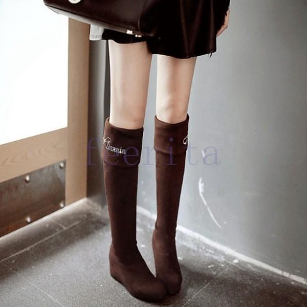 ニーハイブーツ インヒールニーハイブーツ スエード 2色 ブルー イェロー ブラック ブラウン ロングブーツ 冬ブーツレディース靴  秋 冬