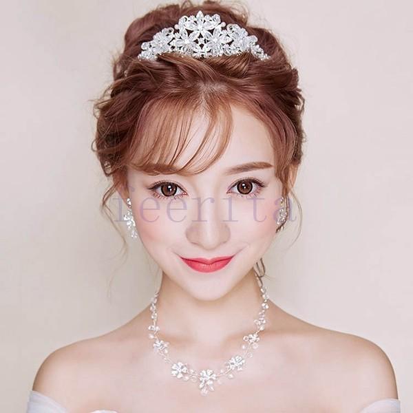 ウエディングヘッドドレス バックカチューシャ 髪飾り ヘアアクセサリー ブライダル 結婚式 二次会 花嫁ティアラネックレスピアス 3点セット