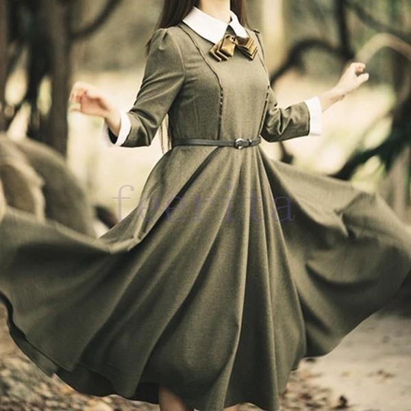 英国のお嬢様のように着ているクラシック一品。ワンピース マキシワンピース ロングワンピース ロングドレス トレロ マキシ 長袖|feerita|03