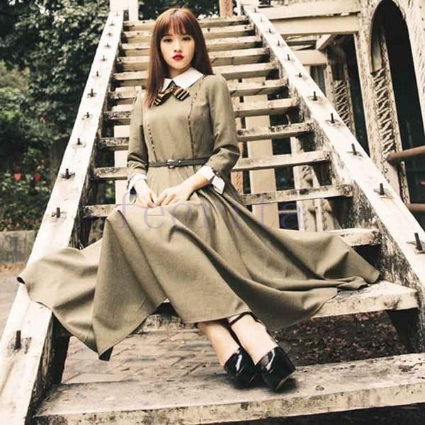 英国のお嬢様のように着ているクラシック一品。ワンピース マキシワンピース ロングワンピース ロングドレス トレロ マキシ 長袖|feerita|05