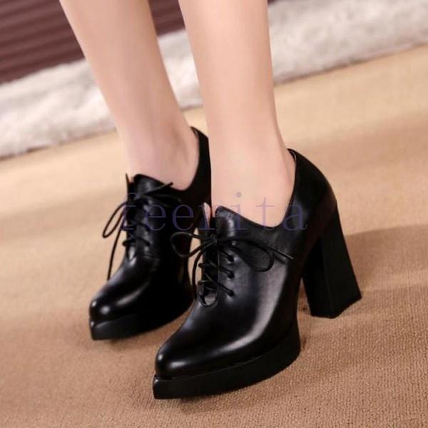 ハイヒールシューズ レディース シューズ 靴 ランドトゥ ブラック ハイヒール 太ヒール 厚底 秋冬 婦人靴