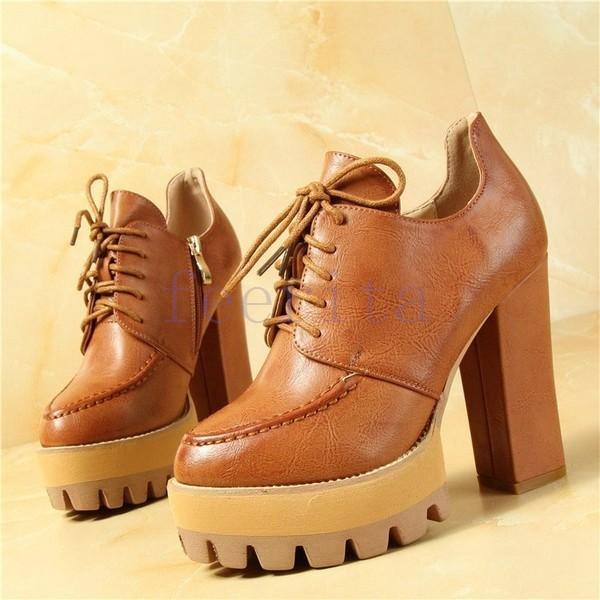 ショートブーツ ハイヒール 太ヒール レディース ハイヒールシューズ レースアップ 紐締め 厚底 カジュアル 靴 カジュアル 婦人靴