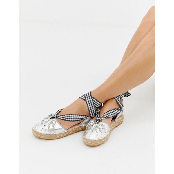 グラマラス Glamorous レディース エスパドリーユ シューズ・靴 metalic espadrilles with embelishment Silver