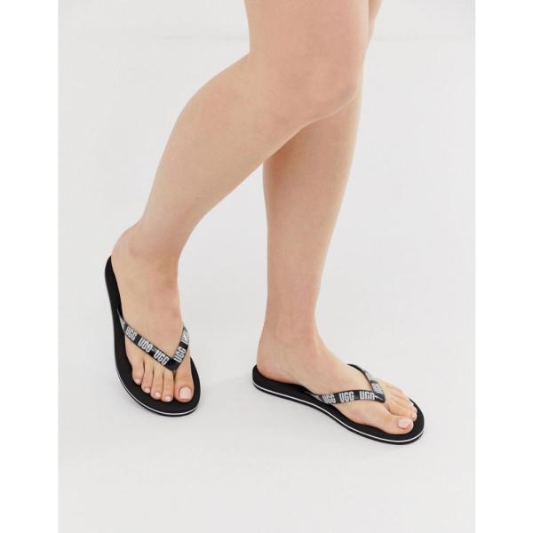 アグ UGG レディース ビーチサンダル シューズ・靴 Simi logo flip flops in black Black