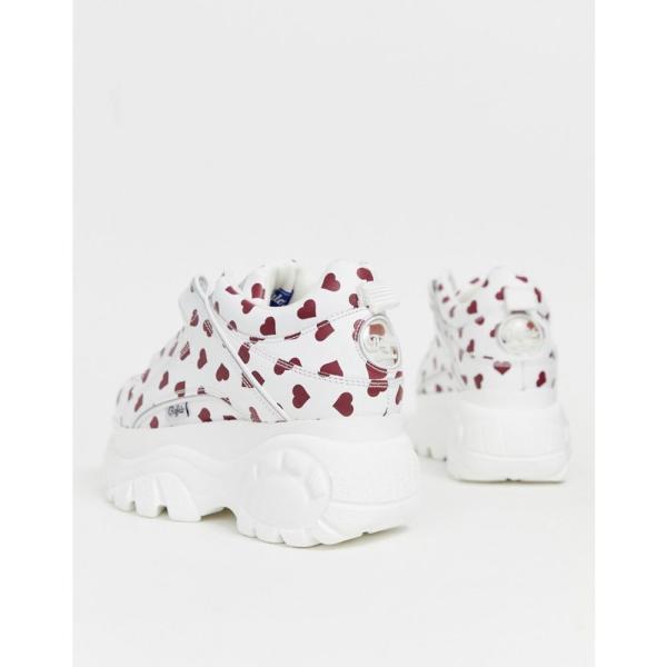 バッファロー Buffalo レディース スニーカー シューズ・靴 classic low top chunky platform trainers in heart print White / red hearts