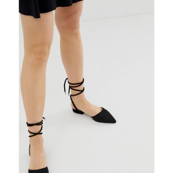 レイド Raid レディース スリッポン・フラット シューズ・靴 RAID Jennie black ankle tie flat shoes Black suede