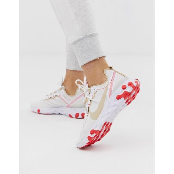 ナイキ Nike レディース スニーカー シューズ・靴 Beige and red react element 55 trainers Beige/red|fermart-shoes