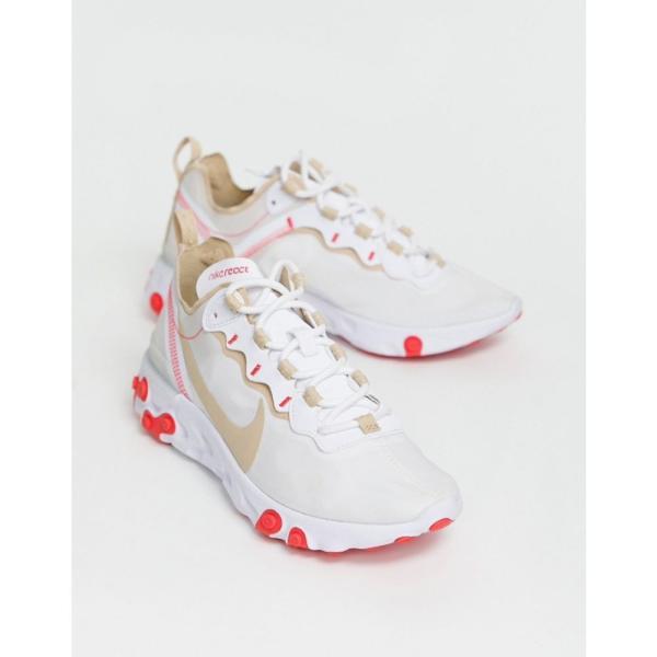 ナイキ Nike レディース スニーカー シューズ・靴 Beige and red react element 55 trainers Beige/red|fermart-shoes|04