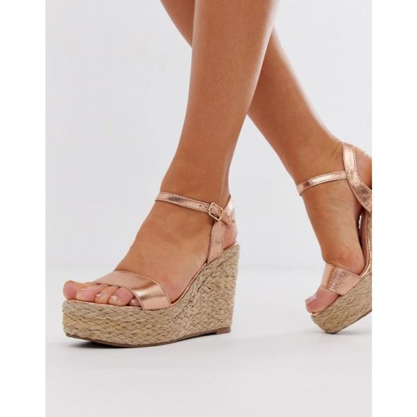 グラマラスワイドフィット Glamorous Wide Fit レディース エスパドリーユ シューズ・靴 rose gold metallic espadrille wedges Rose gold