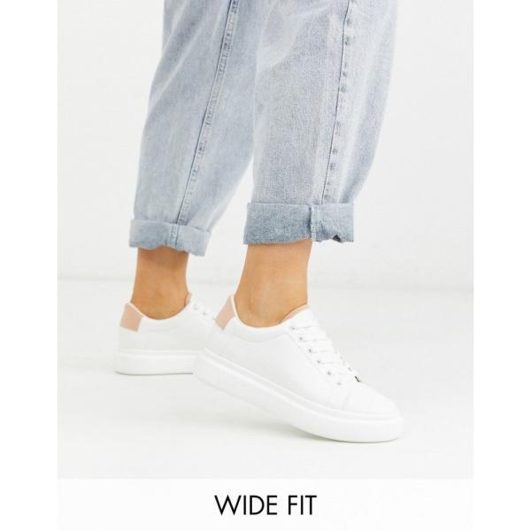 エイソス ASOS DESIGN レディース スニーカー レースアップ シューズ・靴 Wide Fit Doro chunky lace up trainers in white and beige