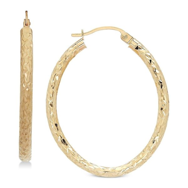 Mia Diamonds 14k Yellow Gold Textured Hoop Earrings