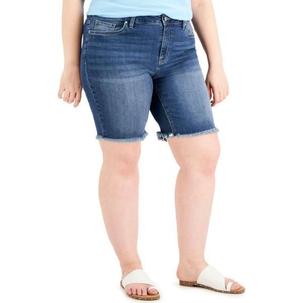 ドールハウス Dollhouse レディース ショートパンツ デニム 大きいサイズ バミューダ ボトムス・パンツ Trendy Plus Size Denim Bermuda Shorts Driftwood