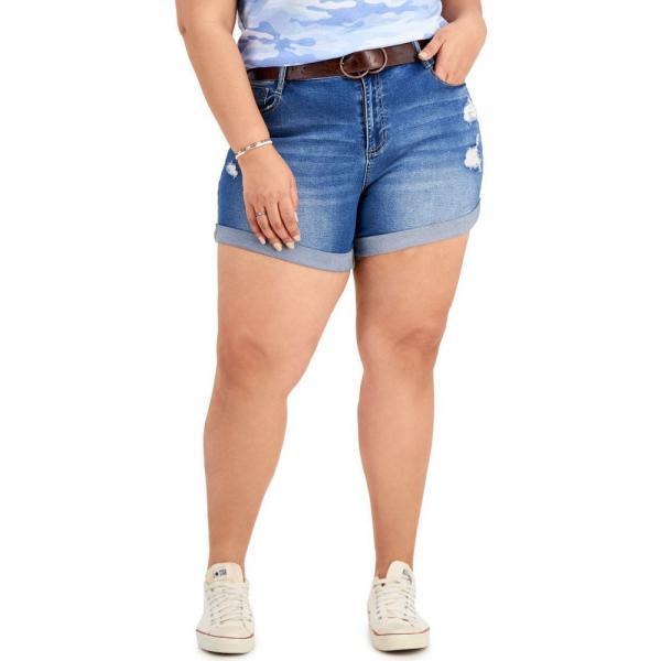 ドールハウス Dollhouse レディース ショートパンツ デニム 大きいサイズ ボトムス・パンツ Trendy Plus Size Belted Denim Boyfriend Shorts Canary Island