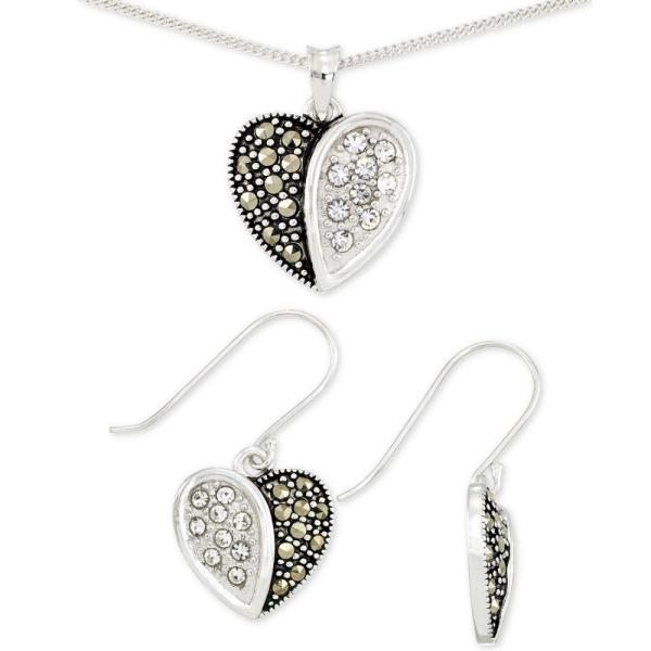メイシーズ Macy's メンズ ネックレス ドロップピアス ハート 2-Pc. Set Marcasite & Crystal Heart Pendant Necklace & Matching Drop Earrings
