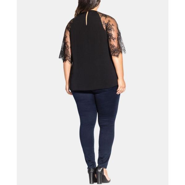 シティーシック City Chic レディース トップス Trendy Plus Size Lace-Sleeve Top Black