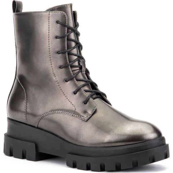 オリビアミラー Olivia Miller レディース ブーツ コンバットブーツ シューズ・靴 'Exhale' High Shine Combat Boots Pewter|fermart-shoes