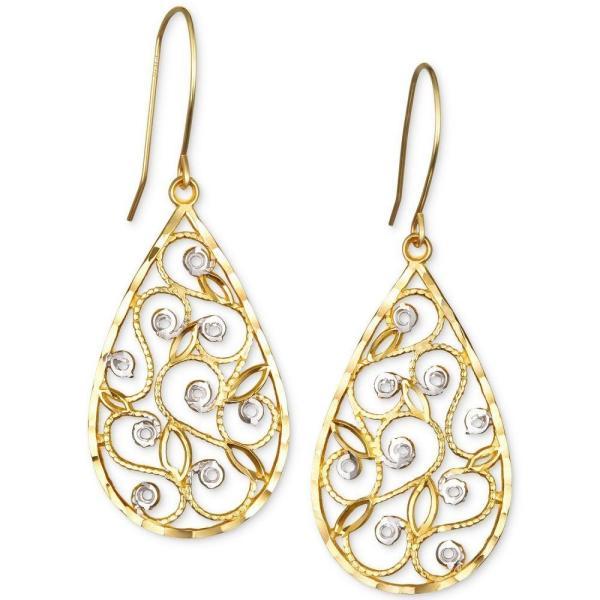 メイシーズ Macy's メンズ イヤリング・ピアス ドロップピアス ジュエリー・アクセサリー Two-Tone Filigree Teardrop Drop Earrings in 10k Gold Two-Tone