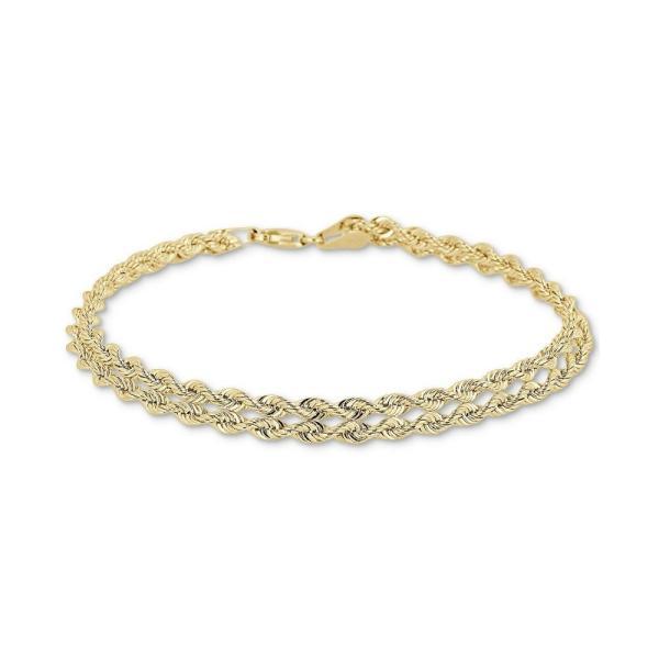 メイシーズ Macy's レディース ブレスレット ジュエリー・アクセサリー Double Row Twisted Heart Link Bracelet in 14k Gold Yellow Gold