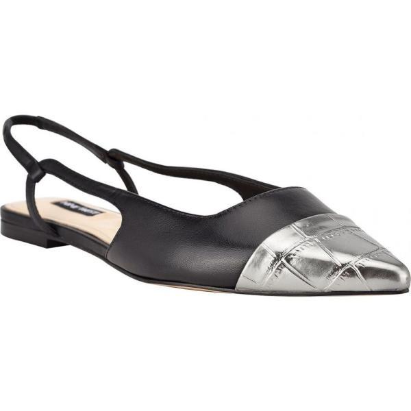 ナインウエスト Nine West レディース スリッポン・フラット シューズ・靴 Babee Slingback Cap Toe Flats Black/Pewter Croco