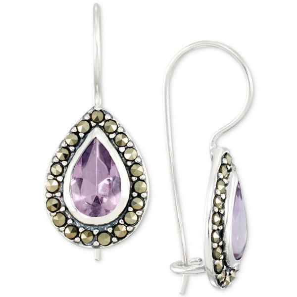 メイシーズ Macy's メンズ イヤリング・ピアス ドロップピアス Amethyst (2-3/4 ct. t.w.) & Marcasite Teardrop Drop Earrings in Sterling Silver