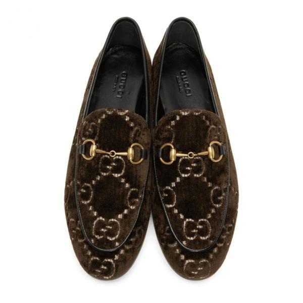 グッチ Gucci レディース ローファー・オックスフォード シューズ・靴 Brown Velvet GG New Jordaan Loafers