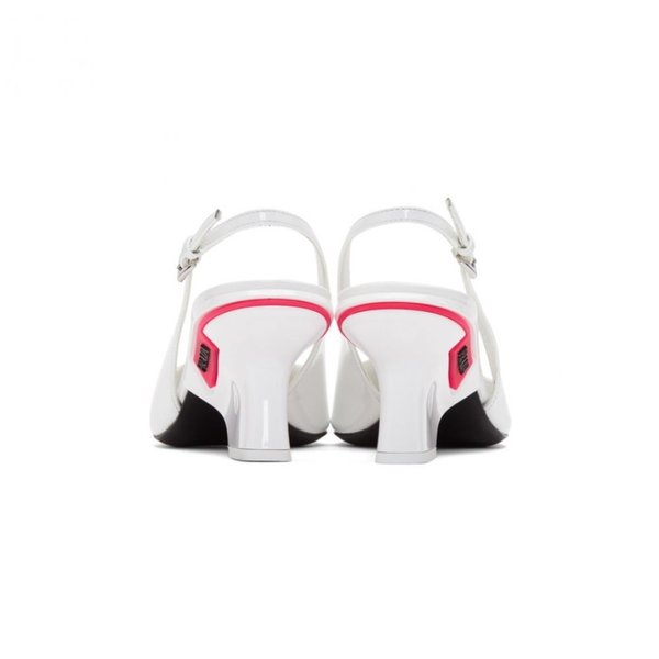 プラダ Prada レディース ヒール シューズ・靴 White Slingback Logo Heels