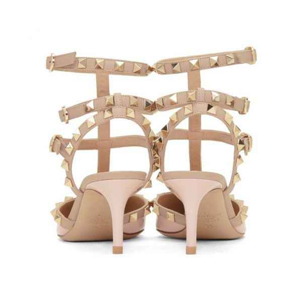 ヴァレンティノ Valentino レディース ヒール シューズ・靴 Pink Garavani Patent Rockstud Cage Heels