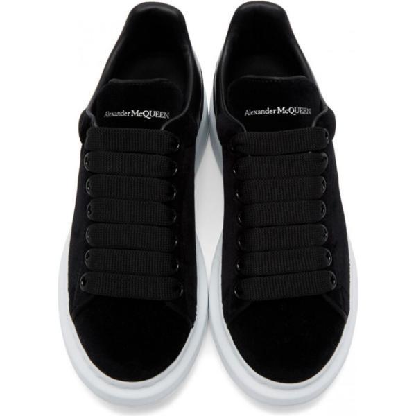 アレキサンダー マックイーン Alexander McQueen レディース スニーカー シューズ・靴 Black & White Velvet Oversized Sneakers