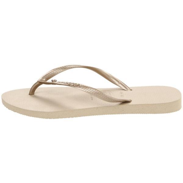 ハワイアナス Havaianas レディース ビーチサンダル シューズ・靴 Slim Crystal Glamour SW Flip Flops Sand Grey/Light Gold