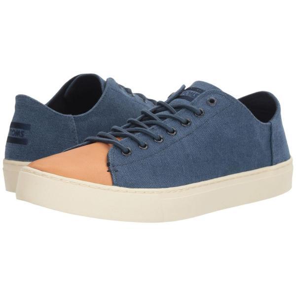 トムズ メンズ スニーカー シューズ・靴 Lenox Sneaker Navy Washed Canvas/Leather fermart-shoes