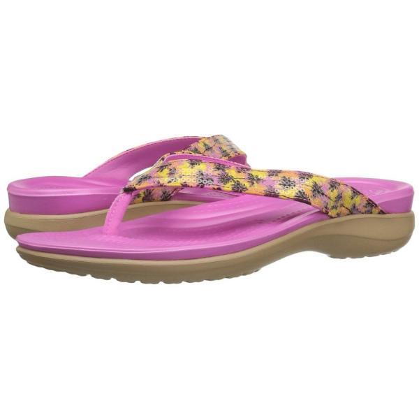 クロックス Crocs レディース ビーチサンダル シューズ・靴 Capri V Graphic Sequin Flip Gold